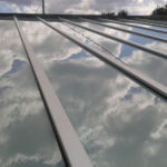 copertura vetro stratificato bianco latte kit alluminio