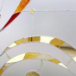 Vetrata artistica con intarsi di Murano e rifiniture in filo di piombo